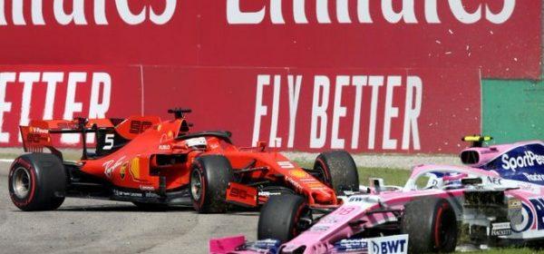 Video: Vettel raises the visor of Stroll's helmet and apologizes to him thumbnail