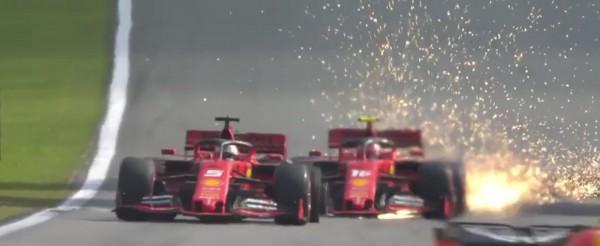 Video: Vettel in Leclerc s trčenjem poskrbela za dvojni odstop Ferrarija